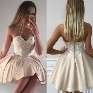 Wholesale Cheap Lace Puffy Skirt Homecoming Dresses Backless Prom Gowns Sweetheart Cocktail Bridesmaid Dress For Teens