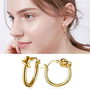 Wholesale Unique Knotted Hoop Earrings for Women Simple Cute Round Circle Dangle Stainless Steel Earring Fashion Jewelry Christmas Gifts