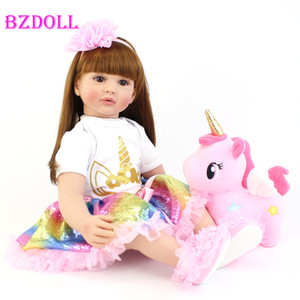 Wholesale 60cm Big Size Reborn Toddler Doll Toy Lifelike Vinyl Princess Baby With Unicorn Cloth Body Alive Bebe Girl Birthday Gift T200209