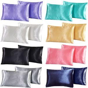 Silk Satin Pillowcase Queen Satin Silk Pillowcase Pillow Case Cover Home Bedding Smooth Solid Soft Silky Pillowcase Pure Color