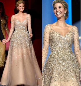 Wholesale fashion princess dress resale online - Ivanka Trump Inaugural Celebrity Dresses New Champagne Blingbling Beaded Princess Ball Gown Tulle Nude Fashion Evening Gowns
