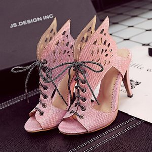 Plus Size Women Shoes 33-46b Summer Fashion Sandals Cut Outs Lacing Up Butterfly High Heels Shoes