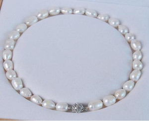 Wholesale Hot sale Big MM Genuine white akoya cultured pearl necklace Magnet Clasp quot No box a