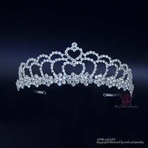Wholesale Bridal Wedding Hair Accessories Jewelry Tiaras Pageant Crown Double Level Heart Rhinestone Crystal Headband Adjustable00689