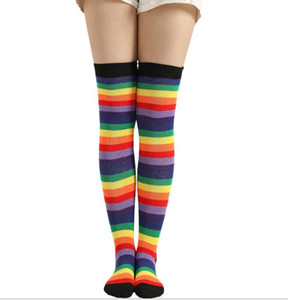 Wholesale Sexy Women Socks Thigh High stockings Cotton Over Knee Socks Student Japanese Stocking Long Socks Harajuku Hiphop Stripe cosplay club sock