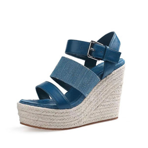 Wholesale leather cleaners resale online - Summer Wedges Sandals Elegant Clean Style Denim Luxury Designer Sandals Heel Height CM Size Model LD01