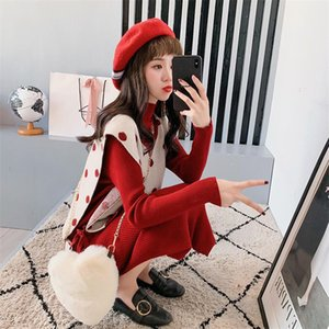 Wholesale 2019 sweater skirt wave point vest two piece female autumn dress new style long sleeved commuter knit dress set