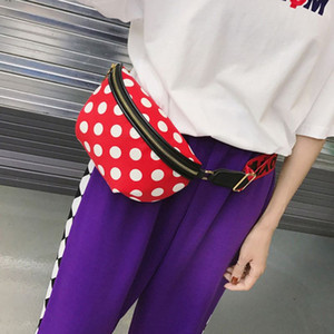 Wholesale Fashion Dots women s belt bag Fanny Pack Phone Pouch PU Leather Belt Zipper Chest Bag