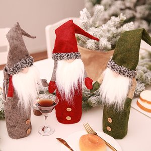 Wholesale doll papers for sale - Group buy Santa Claus Christmas Wine Bottle Cover Dolls Without Faces Champagne Sleeves For Xmas Indoor Decorations Colors zc E1