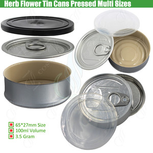 Wholesale Tin Cans Pre Sealed Sealing Lid Cover for Dry Herb Flowers Pressed Top Bottom Custom Label Smartbud Smart BUD Carts Organic Cali Diamond