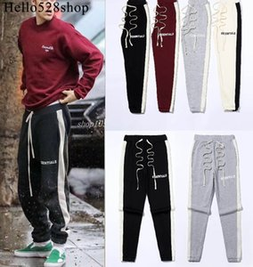 Hello528shop Bieber Style Essentials Printed Beam Foot Drawstring Elastic Waist Casual Pants Jogging Bottoms for Men Boys