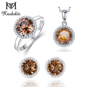 Wholesale Kuololit Zultanite Gemstone Diaspore Jewelry Set for Women Solid Sterling Silver Ring Earrings Necklaces Color Change Stone