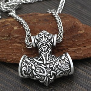 Wholesale Men Norse Viking Super L Amulet Large Thor Hammer Mjolnir Odin Wolf Amulet Pendant Necklace with Gift Bag