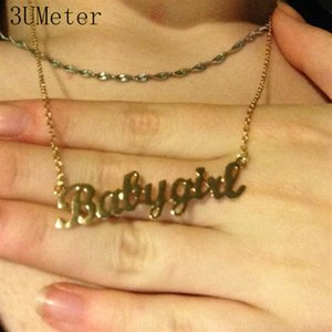 Wholesale 3UMeter Baby Girl Necklace Personalized Babygirl Necklace Custom Name Letter Pendants Stainless Steel Birthday Gift Girlfriend