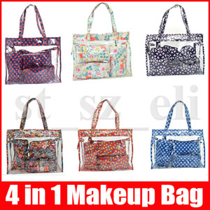 Wholesale 4 Pieces a Set Waterproof Makeup Bag Flower Pattern Travel Cosmetic Bag Package Handbag Beach Fashion Bag Set
