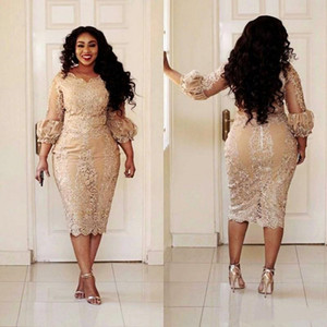 Sexy African Champagne Lace Plus Size Evening Dresses 2019 Modest Vintage Tea-length 3 4 Long Sleeve Mermaid Occasion Prom Party Dress on Sale
