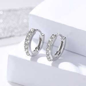Women S925 Sterling Silver Stud Earrings Circle Zircon Silver Earrings Fashion Jewelry Luxury Gift on Sale