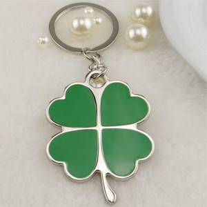 Wholesale leaf clover accessories resale online - Green Leaf Petal Keychain Stainless Steel Four Leaf Clover Steel Lucky Key Chain Jewelry Keyrings Car Key Rings Accessories