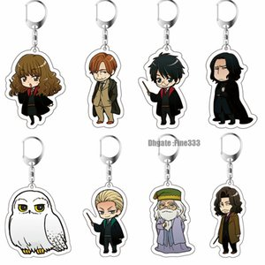 harry potter dobby venda por atacado-Presentes chaveiro Harry Potter Acrílico Keychain Toy Dobby Hermione Granger Malfoy Harri Potter Dumbledore Action Figure Party Brinquedos