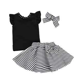 Wholesale 1 Y Girls Summer Toddler Kids Black T shirt Tops Striped Bow Skirt Headband Outfits Princess Girl Clothing Set