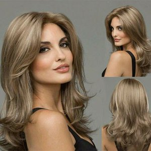 Free Shipping Synthetic Hair Full Wigs Natural Long Curly Wig Blonde Gradient Heat Resistant