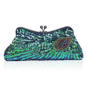 2019 Brand Handmade peacock Sequined Handbag Women Beading Elegant Ladies Wedding Makeup Lipstick Phone Wallet Evening Bags