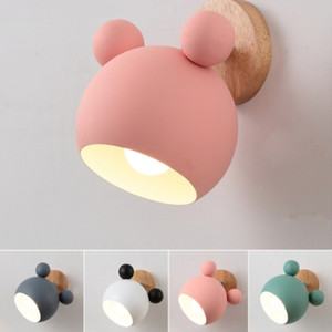 Wholesale Micky mouse lamp wooden wall lights modern wall light for bedroom kids room Nordic wall lamp