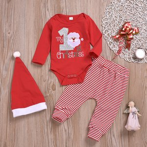 Wholesale baby boys girl clothing rompers stripe pants hat piece set red my first Christmas cotton outfits clothes M