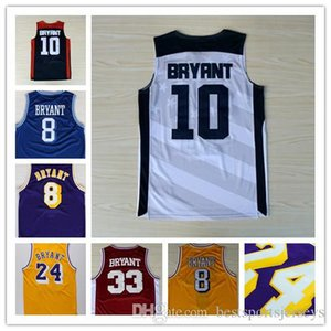 Hot Men's 33 8 kobe 24 bryant jersey yellow purpley white blue black Stitched Logos Jerseys Free shipping on Sale