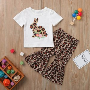 Wholesale baby printed tracksuits resale online - 2pcs Toddler baby summer clothes set Kids Girls Tracksuit Clothes T shirt Tops Leopard Print Ruffles Pant Outfits
