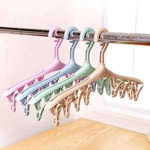 Wholesale Socks drying Clips Plastic Portable Bathrooms Cloth Hanger Rack with Detachable clips Underwear Clothespin rotate Clothes Hangers