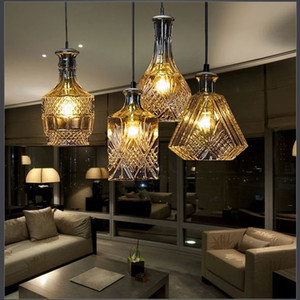 Wholesale amber led bar lights resale online - Modern nordic pendant lamp minimalist carved wine bottle crystal amber glass chandeliers Italian English bar led hanging light AL2
