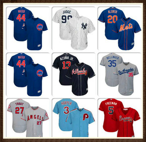 Wholesale Mens Baseball Jersey Bryce Harper Javier Baez Pete Alonso Cody Bellinger Mike Trout Freddie Freeman Authentic Home jerseys Jon Lester YOUTH