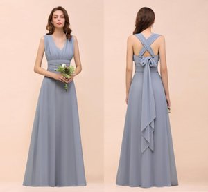 Real Pictures 2020 Dusty Blue Chiffon Bridesmaid Dresses Cheap Halter Open Back Formal Prom Evening Gonw Long Miad Of Honor Dresses BM1572 on Sale