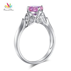 Flower 925 Sterling Silver Wedding Promise Anniversary Ring 1.25 Ct Fancy Pink Stone Jewelry CFR8258 Dropshipping Service Available