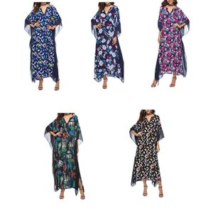 FangNymph Floral Women Girl Batwing Sleeve V-neck Summer Sun Protection Top Pullover Chiffon Beach Blouse Long Maxi Dress