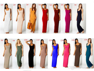 2019 Women Solid Color Spaghetti Sexy Long Tank Dress Summer Maxi Dresses Sleeveless Bodycon Beach Travel Party Dress Night Skirt