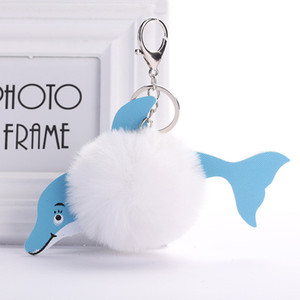 Cute Dolphin Hairball Keychain PU Leather Pendant Imitation Rabbit Fur Lady Luggage Car Ornament Women Accessories
