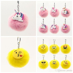 Wholesale 12 styles Fluffy Emoji Unicorn Keychain Cartoon Plush Key Ring Cell Phone Charms Handbag Purse Pendant Fur Ball Key Chains stuffed pony Pink