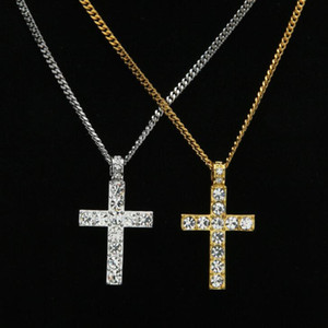 Wholesale necklace men cross resale online - Classic Hip Hop Jewelry Iced Out Gold Silver Color Cuban Chains Rhinestone Cross Pendants Necklace for Men