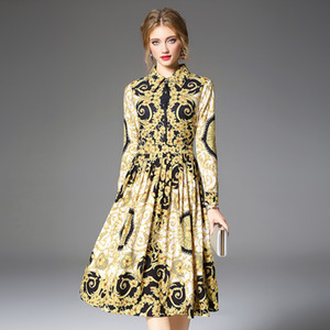 Wholesale Women s Runway Shirt Dress Elegant Vintage Spring Autumn Christmas Robe Femme Buttons Long Sleeve Flower Print Dress Yellow QP32133