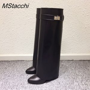 Wholesale MStacchi Wedge Shark Lock Women Knee High Boots Slip on Over Lady Motorcycle Boots Height Increasing Woman Genuine Leather