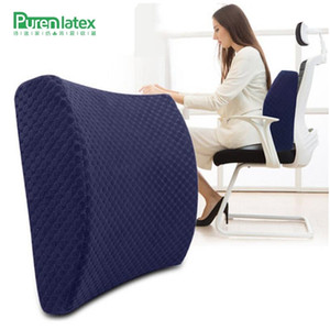 Wholesale PurenLatex Car Seat Cushion Driving Memory Foam Cushions Support Lumbar Spine Protect Pillow Office Chair Back Waist Pad
