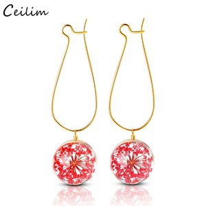 Wholesale Creative Plant Dry Flower Earring Woman Fashion Dried Flowers Earrings Glass Ball Pressed Flower Dangle Earing Jewelry Gift