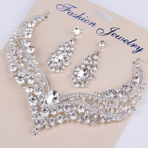 Wholesale beaded bridal jewelry sets for sale - Group buy Luxury Crystal Beaded Wedding Bridal Jewelry Sparkling Necklace and Earring Jewelry Sets Cheap Party Sets
