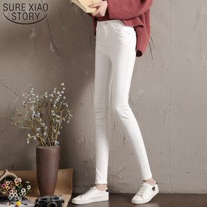 Wholesale Woman High Elastic Stretch Jeans female denim skinny pants New Jeans Women black White High Waist