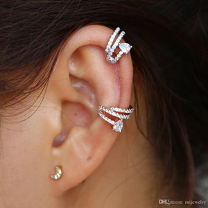 Hot Selling Korean Style Twisted plated Cubic Zirconia No Pierced Ear Cuff Helix Ear clip Cartilage Earring For Women Girls Gift