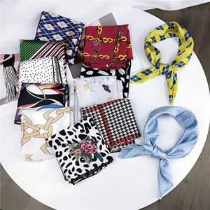 Wholesale Female Square Scarves Cotton Silk Leopard Dots Geometric Printing Headband Red White Bandana Women Handkerchief Hair Band Scarf