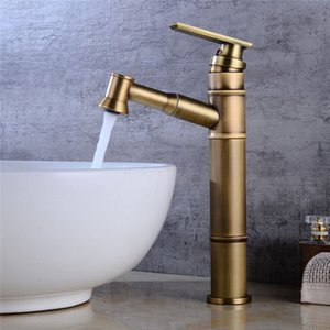 Wholesale New Design Bathroom Faucets Single Handle Pull Out Sprayer Brass Basin Faucet Mixer Tap Surface Mounted Antique Bronze Faucets