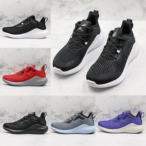 Wholesale Alphabounce s MD Foamed Rubber Outsole Mens Running Shoes Alpha s Light Weight Black Grey White Breathable Sneaker Sports Trainer